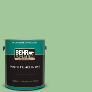 1 gal. #M390-4 Gingko Semi-Gloss Enamel Exterior Paint and Primer in One