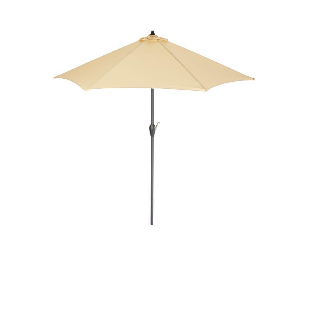 Hampton Bay 9 ft. Aluminum Patio Umbrella in Roux Solid