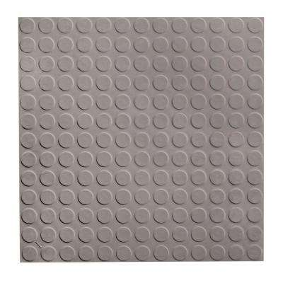 Low Profile Circular Design 19.69 in. x 19.69 in. Slate Rubber Tile