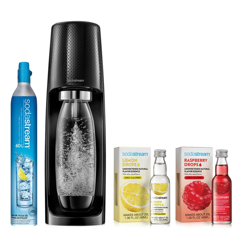 SodaStream Fizzi Black Sparkling Water Maker with Raspberry and Lemon Fruit Drops