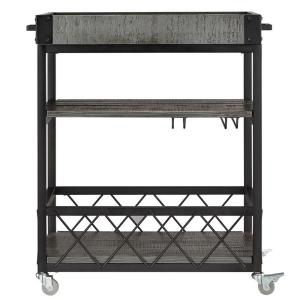 Grove Place Weathered Grey Bar Cart with Wine Glass Storage