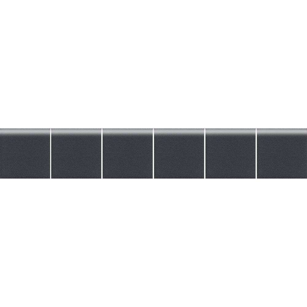 Daltile Keystones Unglazed Black and Ebony 2 in. x 12 in. x 6 mm Porcelain Mosaic Bullnose Trim Tile (0.167 sq. ft. / piece)