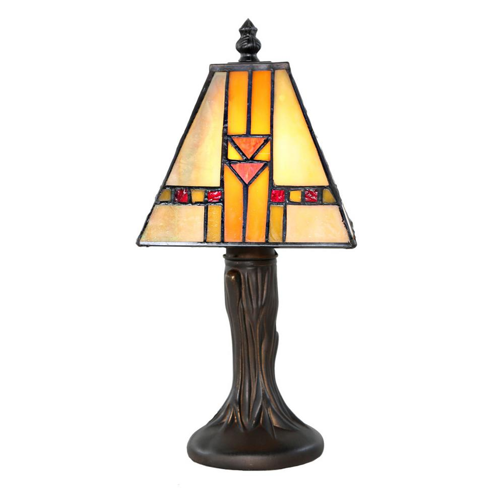 river of goods 11 in amber desk lamp with mission style stained glass shade 14909 the home depot. Black Bedroom Furniture Sets. Home Design Ideas