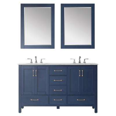 "Gela 60"" Double Vanity in RoyalBlue with Carrara White Marble Countertop With Mirror"