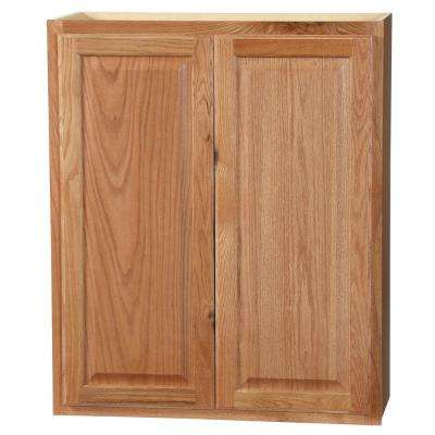 Hampton Assembled 30x36x12 in. Wall Kitchen Cabinet in Medium Oak