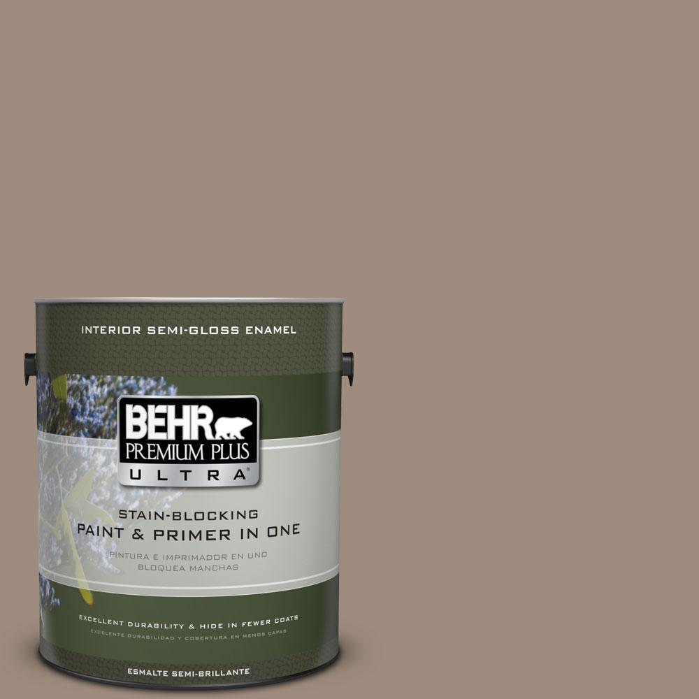 BEHR Premium Plus Ultra 1-gal. #BXC-49 Smokey Tan Semi-Gloss Enamel Interior Paint