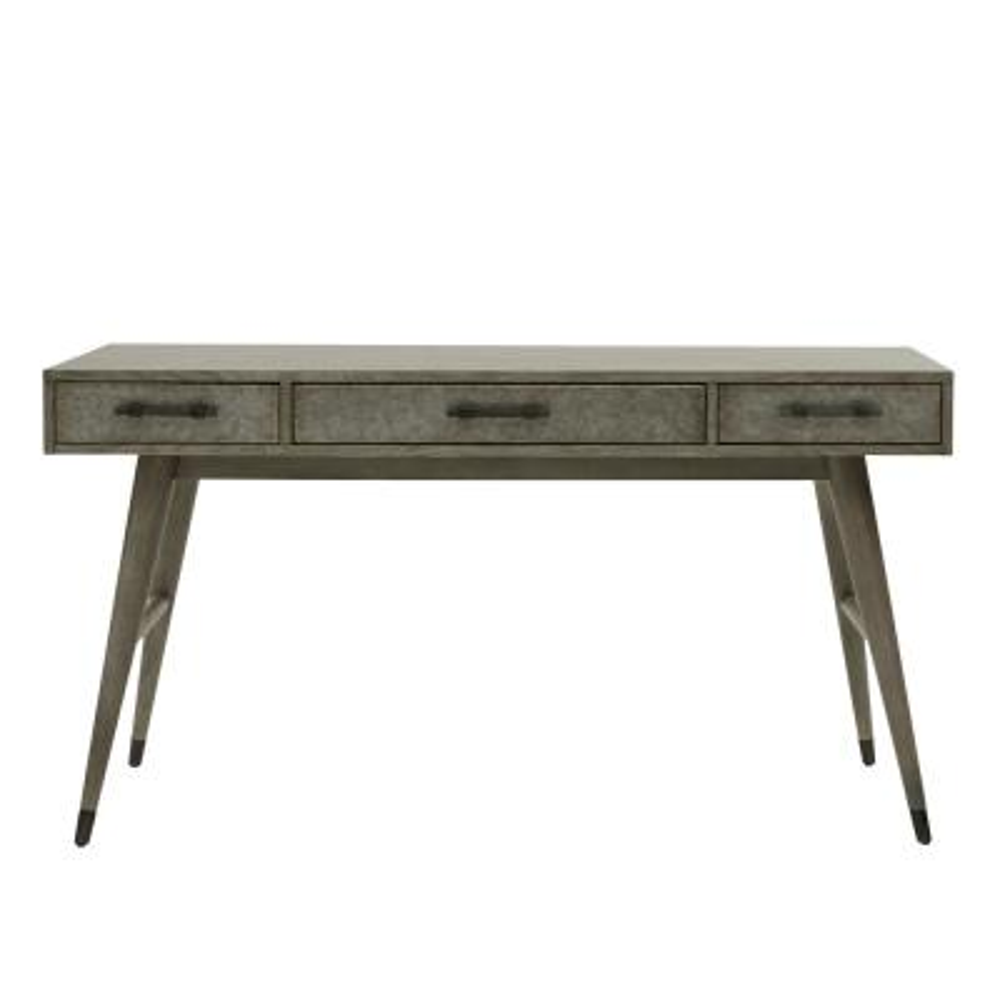 Gray Oak and Metal Drawer Desk