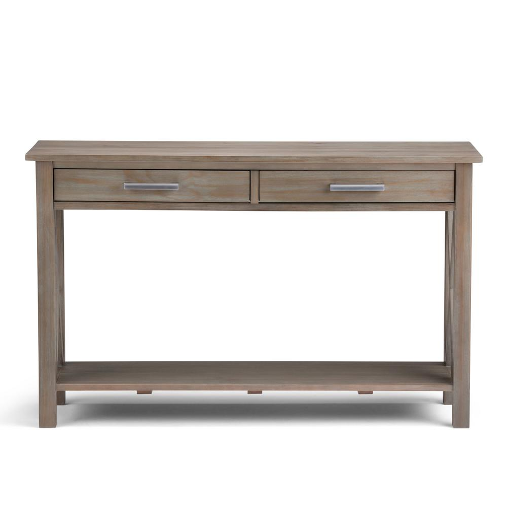 Simply Home Kitchener Distressed Grey Storage Console Table