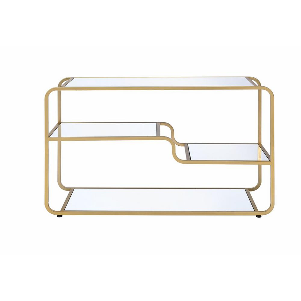 Astrid Gold and Clear Glass TV Stand
