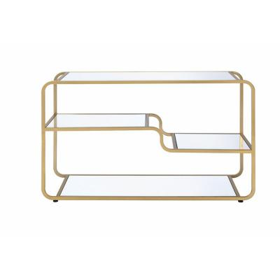 Astrid 50 in. Gold Glass TV Stand Fits TVs Up to 48 in. with Open Storage