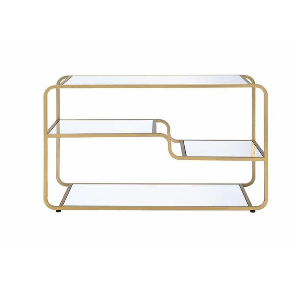 Acme Furniture Astrid Gold and Clear Glass TV Stand 91395