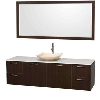 Amare 72 in. Vanity in Espresso with Solid-Surface Vanity Top in White, Marble Sink and 70 in. Mirror