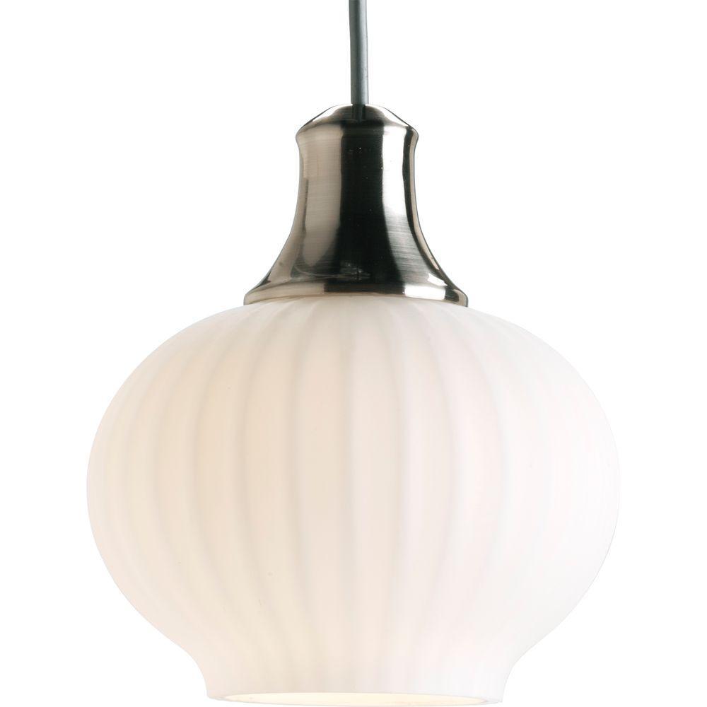 Progress Lighting Illuma-Flex 1-Light Brushed Nickel Track Lighting Pendant with White Shade-DISCONTINUED