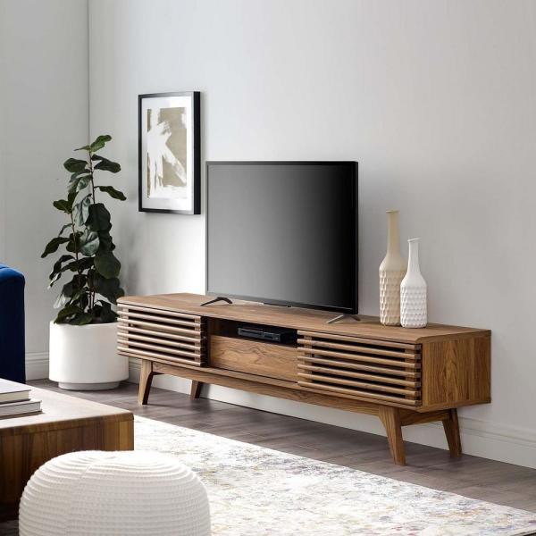 Render 70 in. Walnut Wood TV Stand Fits TVs Up to 70 in. with Storage Doors