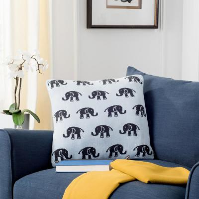 Baby Phant Sky Blue and Charcoal Animal Print Polyester 20 in. x 20 in. Throw Pillow