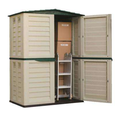 59.5 in. x 32.7 in. x 78 in. Beige/Green Tall Storage Shed