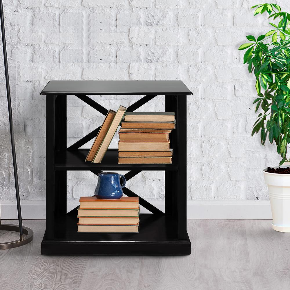 Bay View Black 3-Shelf Bookcase