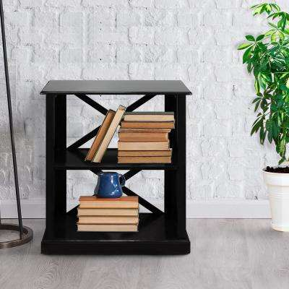 Bay View Black 3-Shelf Bookcase