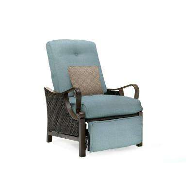 Ventura All Weather Wicker Reclining Patio Lounge Chair With Ocean Blue  Cushion