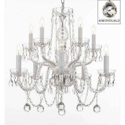 Empress 10-Light Crystal Candle-Style Plug-In Chandelier Trimmed with Swarovski Crystal and Crystal Balls