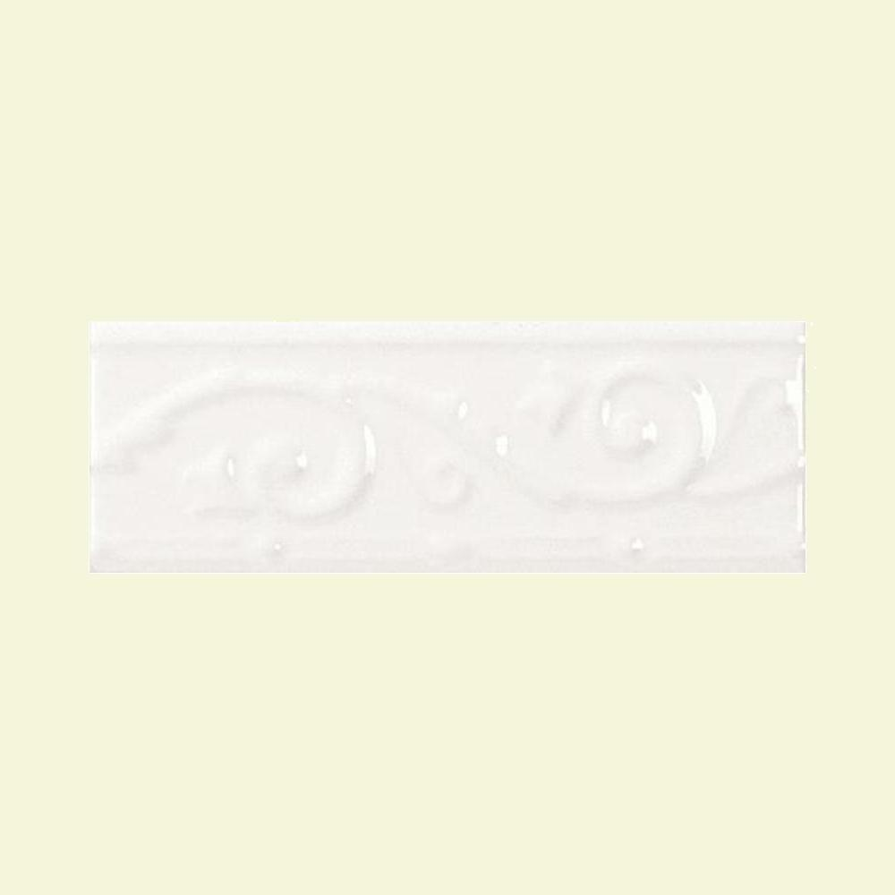 Daltile fashion accents arctic white 3 in x 8 in ceramic ivy daltile fashion accents arctic white 3 in x 8 in ceramic ivy listello wall tile fa5119038ivy1p1 the home depot dailygadgetfo Images