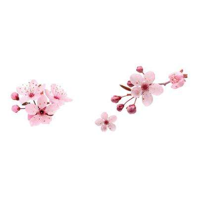 110.2 in. x 39.4 in. Peach Flowers Wall Decal