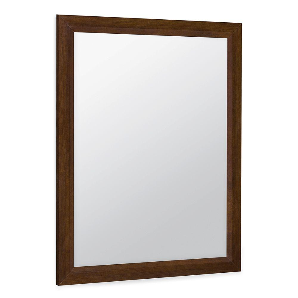 Glacier Bay Shaila 24 in. x 31 in. Single Framed Vanity Mirror in Truffle