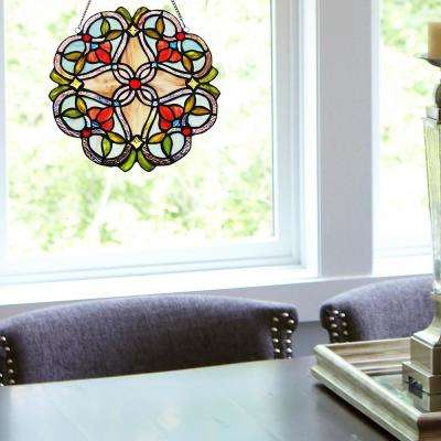 Red Flowering Vine Stained Glass Window Panel