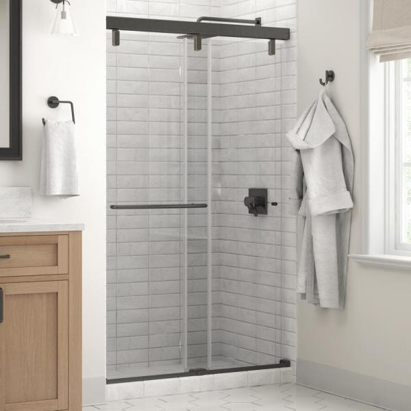 Simplicity 48 x 71-1/2 in. Frameless Mod Soft-Close Sliding Shower Door in Bronze with 1/4 in. (6mm) Clear Glass