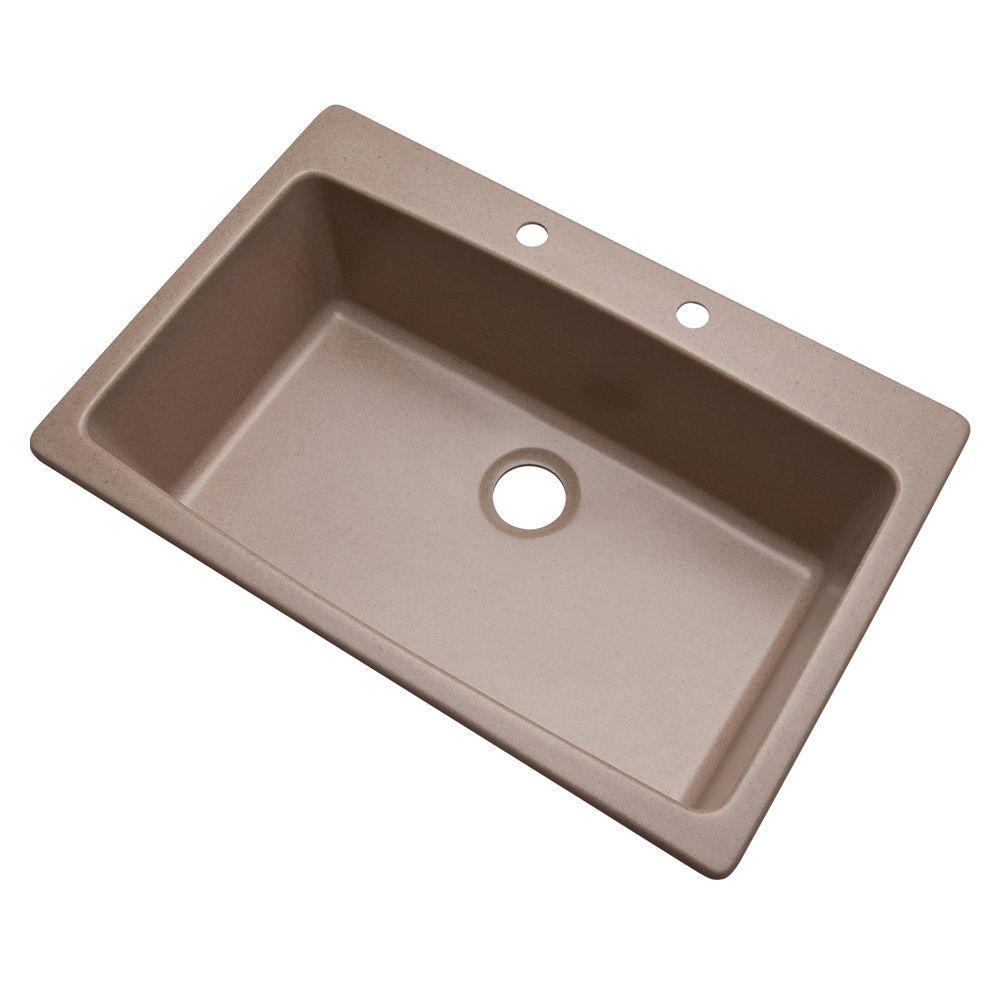 Rockland Dual Mount Composite Granite 33 in. 2-Hole Single Basin Kitchen Sink in Desert Sand