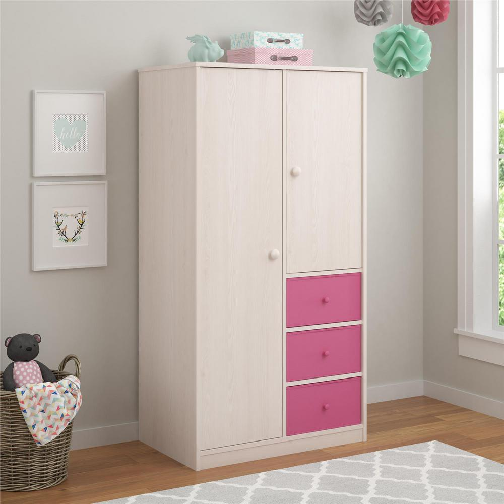 Cosco Applegate Armoire With 3 Pink Fabric Bins In Enchanted  Pine 5887218FCOM   The Home Depot