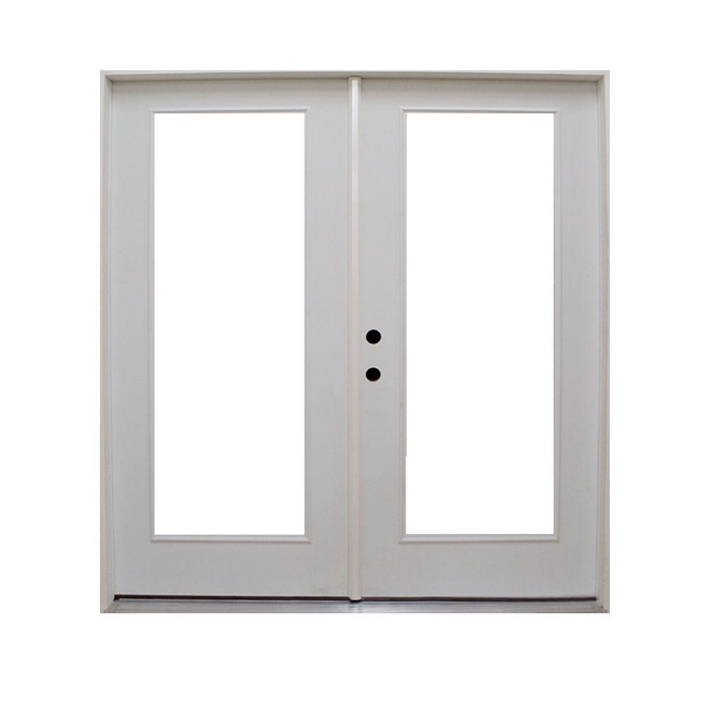 Steves Sons 60 In X 80 In Retrofit Prehung Right Hand Inswing Primed White Steel Patio Door
