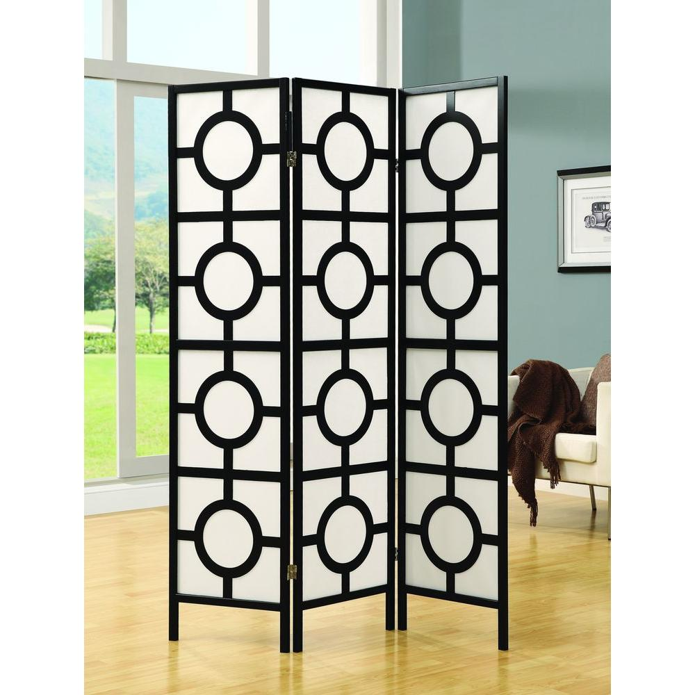 Monarch Specialties 5.83 ft. Black 3-Panel Room Divider