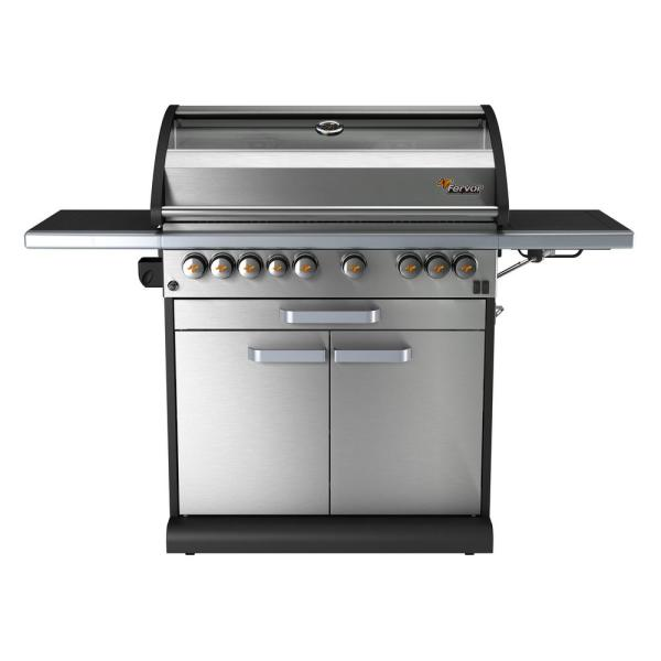 Fervor 6 Burner Propane Gas Grill In Stainless Steel With Cabinet Trolley And Wok Burner Ic655 S The Home Depot