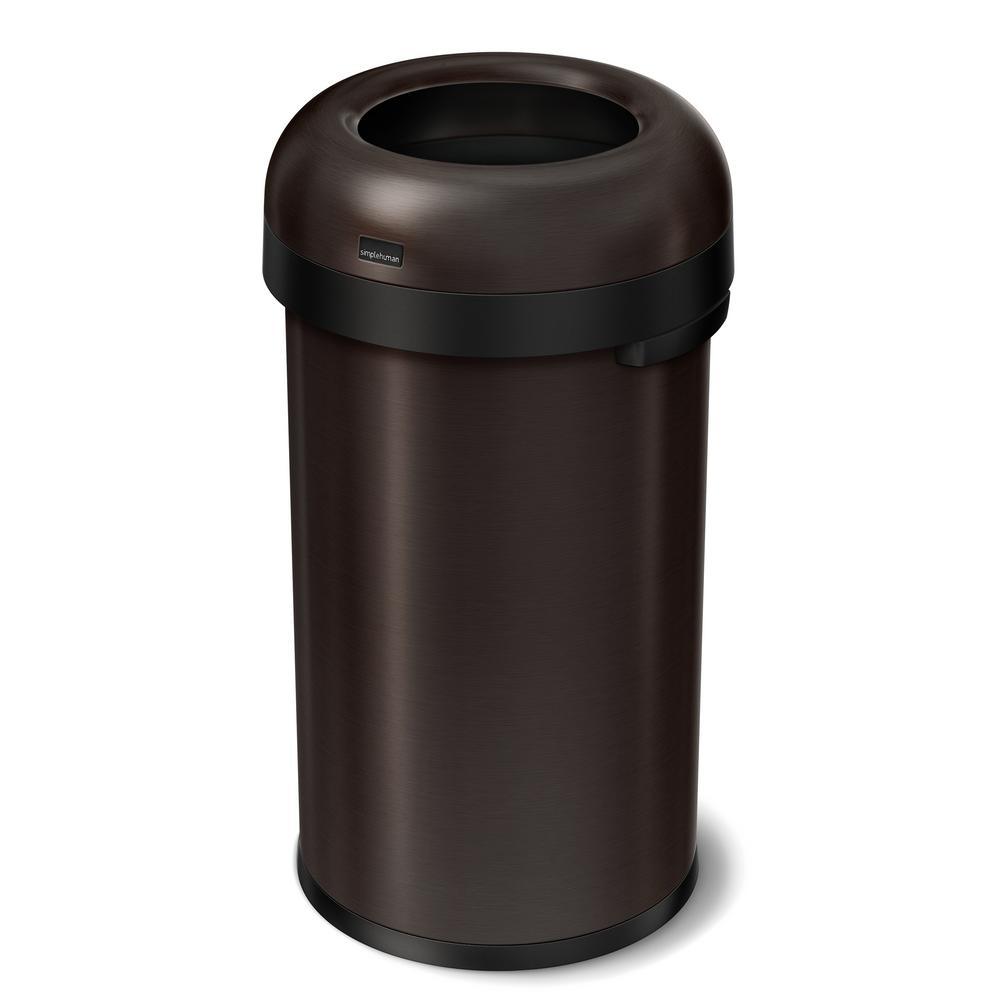 "60-Liter Dark Bronze Heavy-Gauge Stainless Steel ""Bullet"" Round Open Top Trash Can"