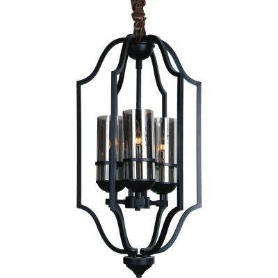Vanna 3-Light Black Chandelier with Clear shade
