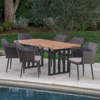 Micah Multi-Brown 7-Piece Polyethylene Wicker Outdoor Dining Set with Cream Cushions