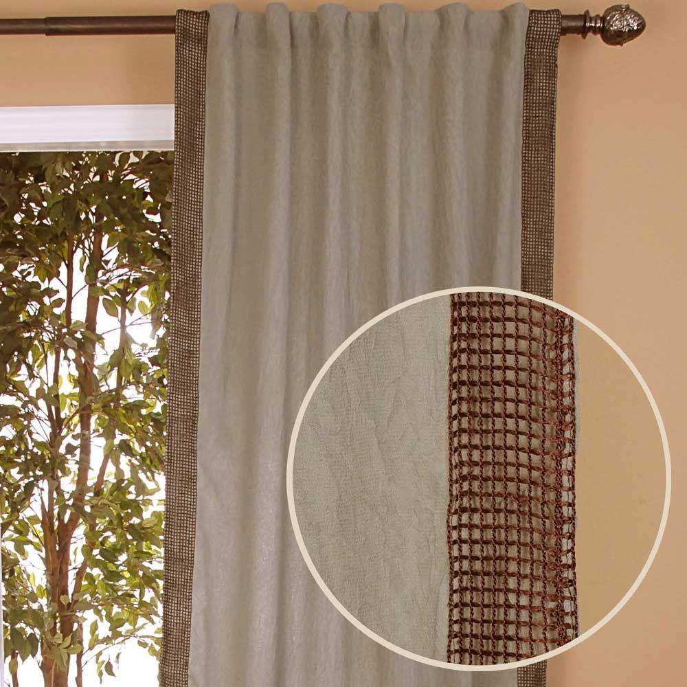 Home Decorators Collection Semi-Opaque Crinckle Rulu Blue Back Tab Curtain-DISCONTINUED