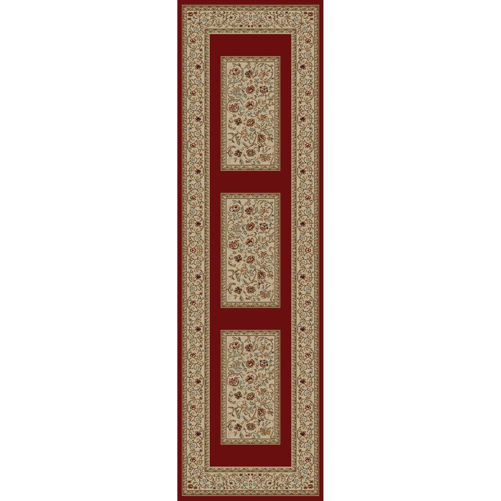 Concord Global Trading Ankara Floral Border Red 2 ft. 2 in. x 7 ft. 3 in. Rug Runner