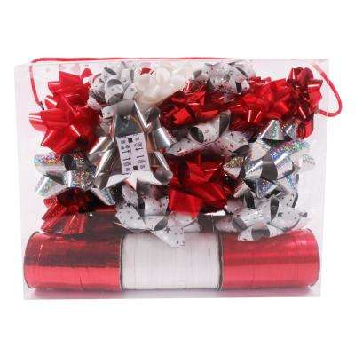 36-Piece Silver and Red Ribbon and Bow Wrapping Set