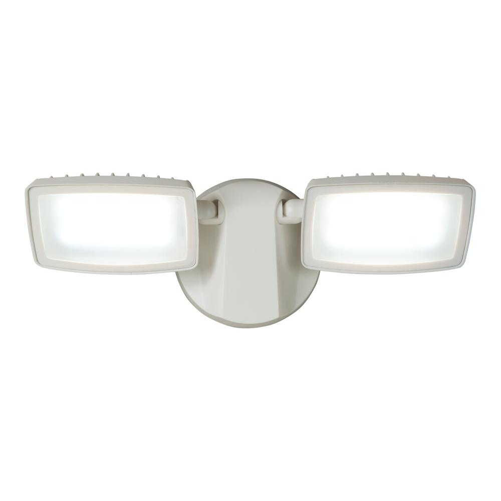 Halo FT White Outdoor Integrated LED Twin-Head Flood Light