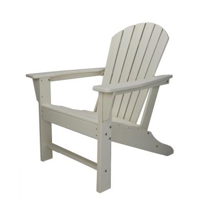 White Reclining HDPE Resin Wood Adirondack Chair