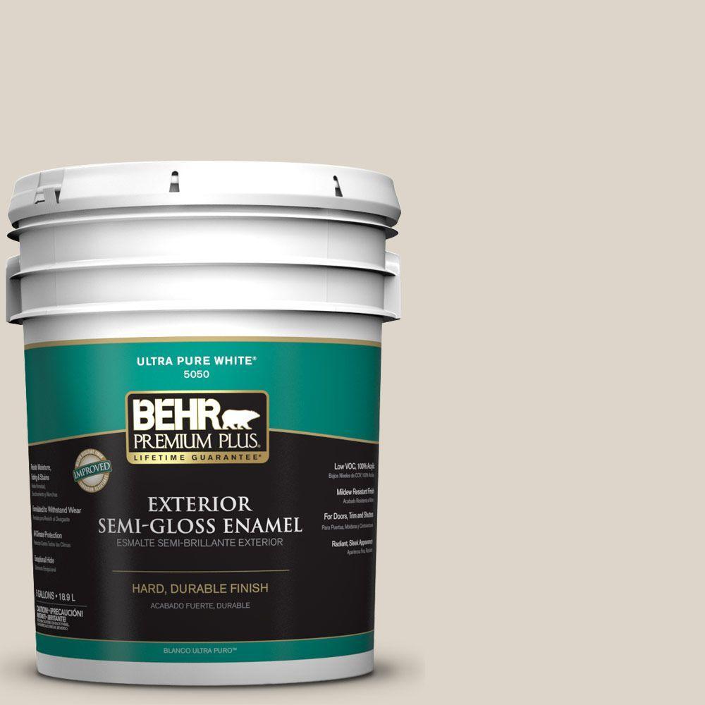 BEHR Premium Plus 5-gal. #N330-2 Prairie Dust Semi-Gloss Enamel Exterior Paint