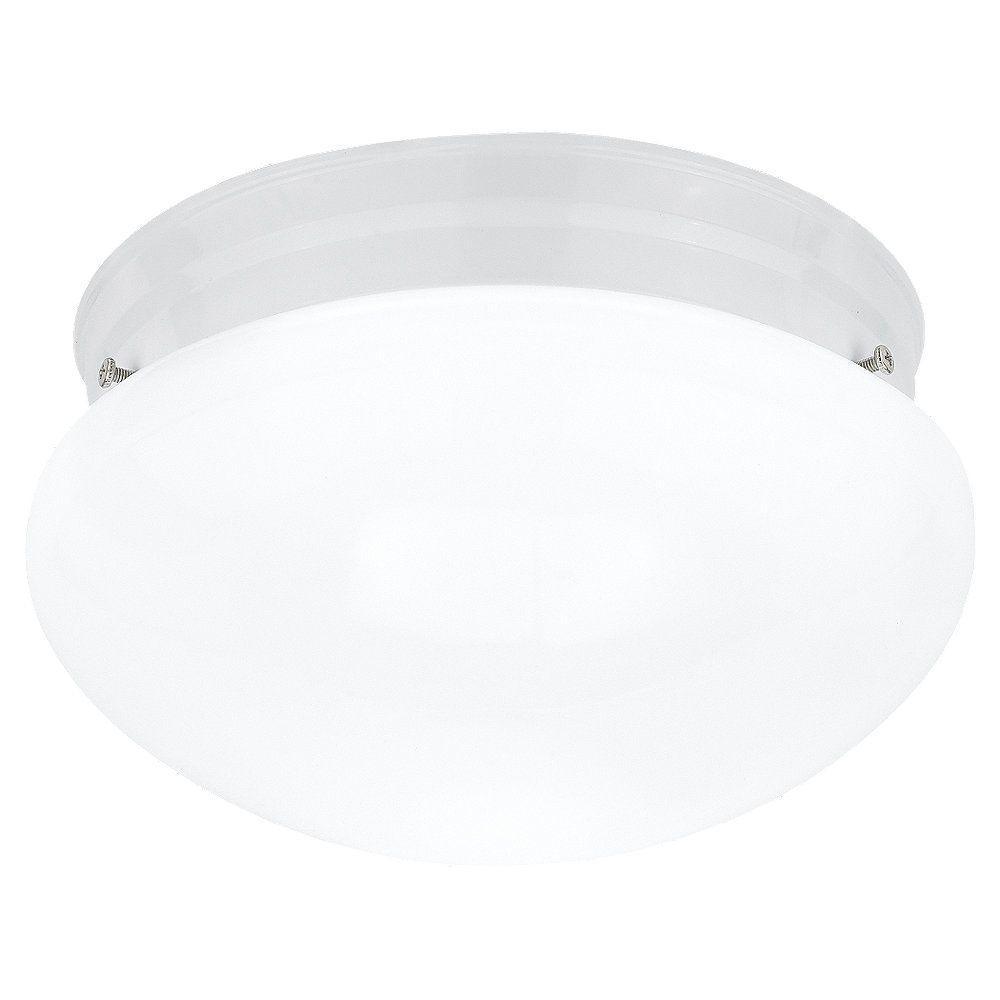 Cordelia Lighting 1-Light White Flush Mount with White Shade