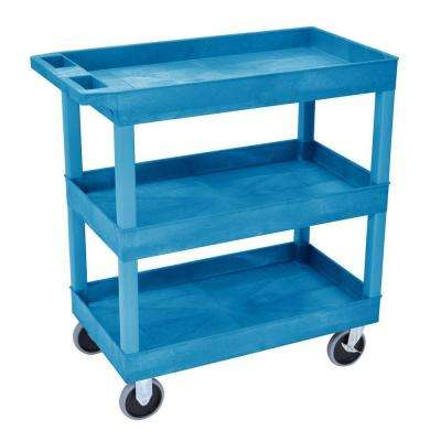 18 in. x 35 in. 3-Tub Shelf Utility Cart, Blue