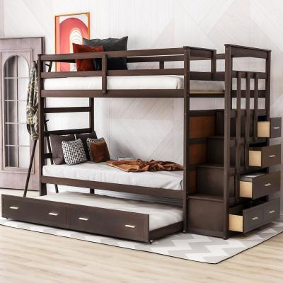 Espresso Modern Twin Over Twin Bunk Bed with Trundle and Drawers