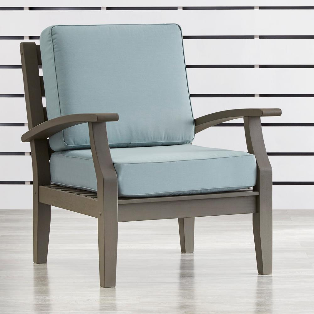 Homesullivan verdon gorge gray oiled wood outdoor occasional lounge chair with blue cushion