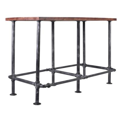 Nelson Silver Brushed Gray with Rustic Pine Wood Top Bar Table