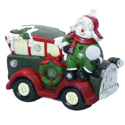 Alpine Corporation Snowman and Retro Car Statue with LED Lights, Festive Indoor Holiday Décor for Home