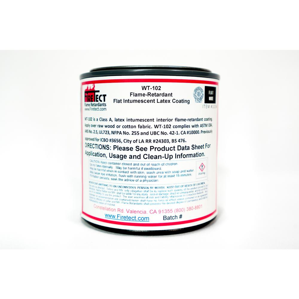 Firetect WT-102 8 oz. White Flat Latex Intumescent Fireproofing Flame Retardant Paint Sample for Wood